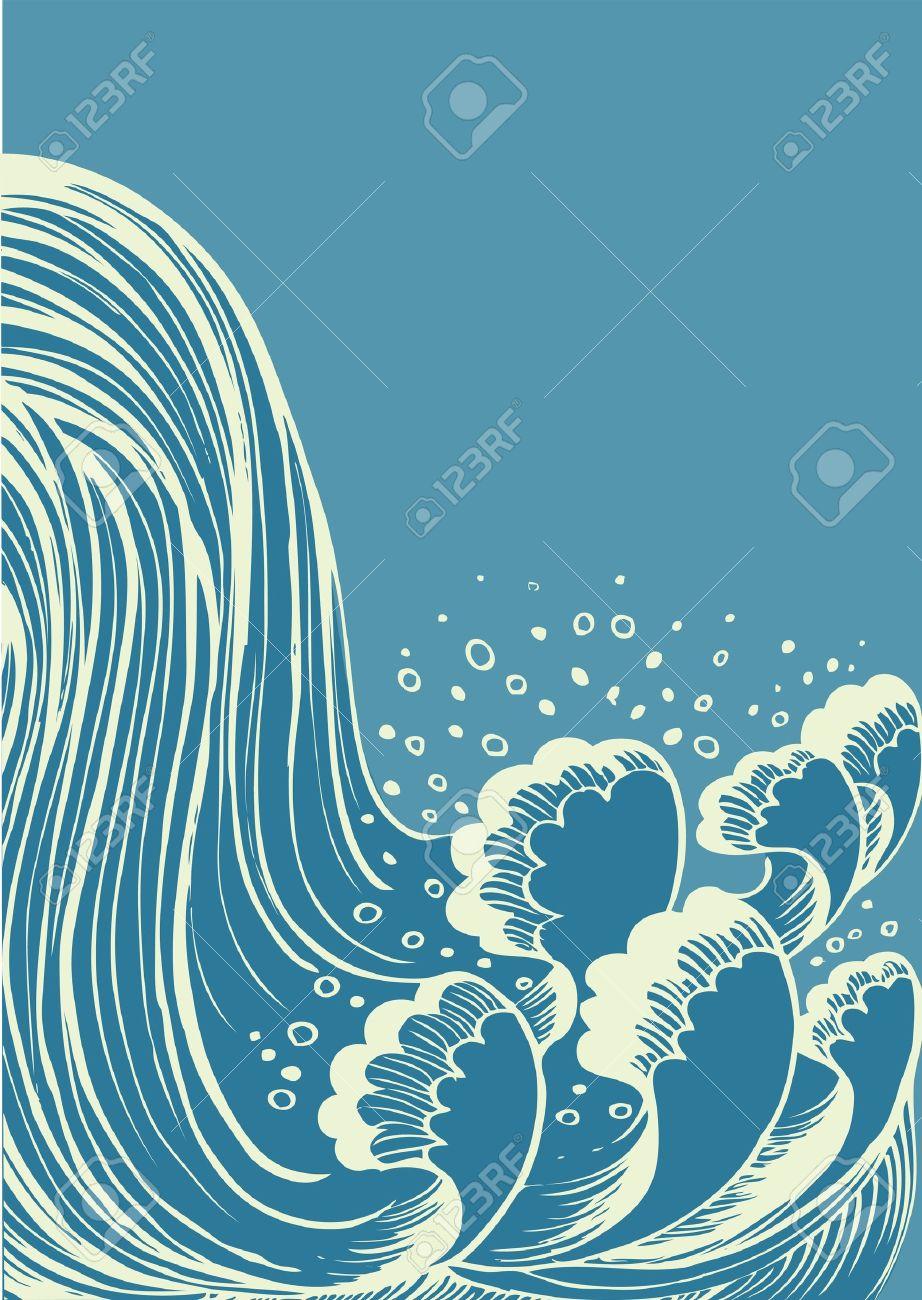 Waterfall.vector Fondo De Ondas De Agua Azul Ilustraciones.