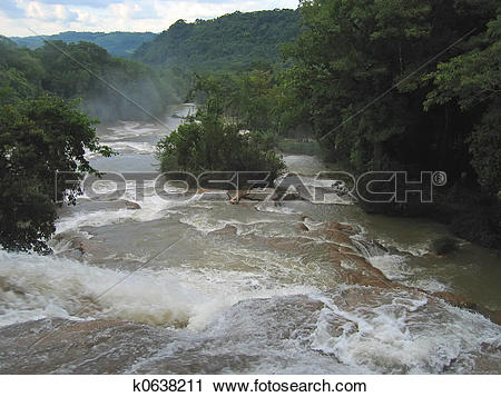 Stock Photography of Waterfalls with the river and the tropical.