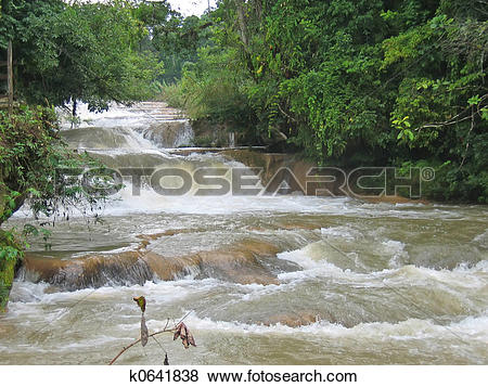 Pictures of Tumultuous waterfalls in the tropical jungle, Agua.