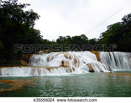 Stock Photo of Cascades in Jungle at Agua Azul k35555024.