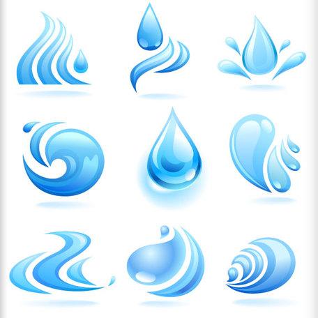 Respingo de água azul gotas 02, Clip Arts.