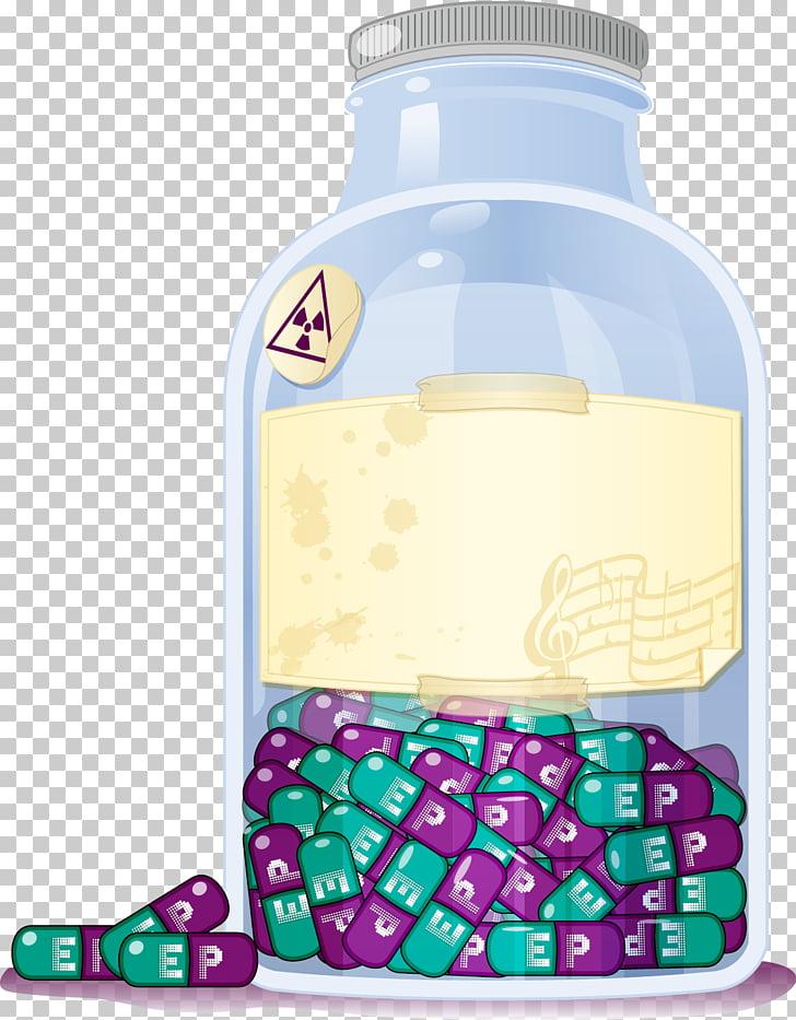 Botella de agua botella de cristal líquido, pastillas PNG.
