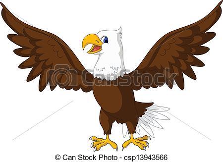 Clip Art Vector of cute eagle cartoon.