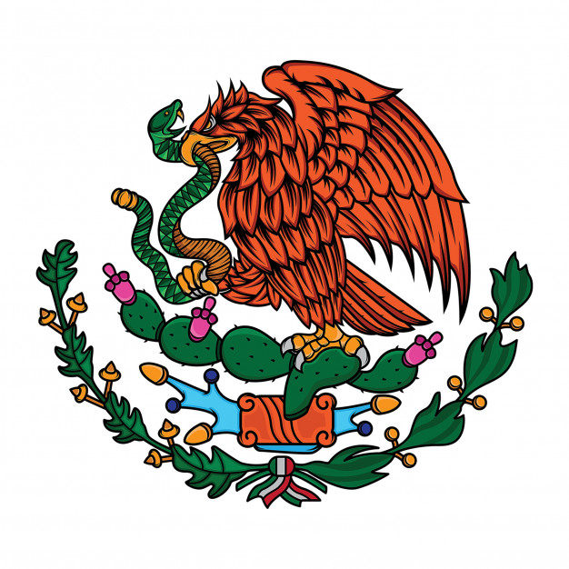 Mexico flag the eagle and snake Vector.