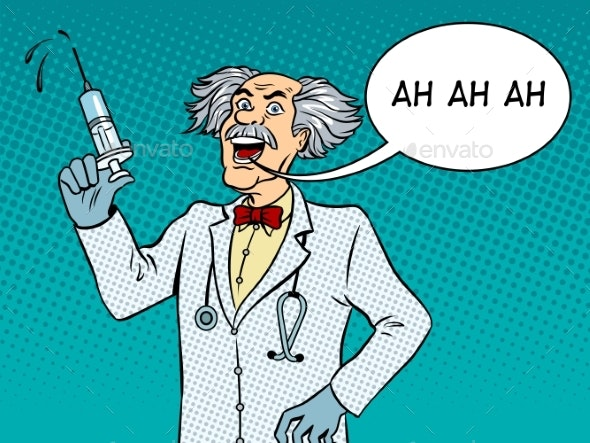 Mad Doctor with Syringe Pop Art Vector.