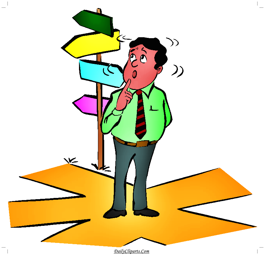 Confuse Employee which direction to go clipart image.