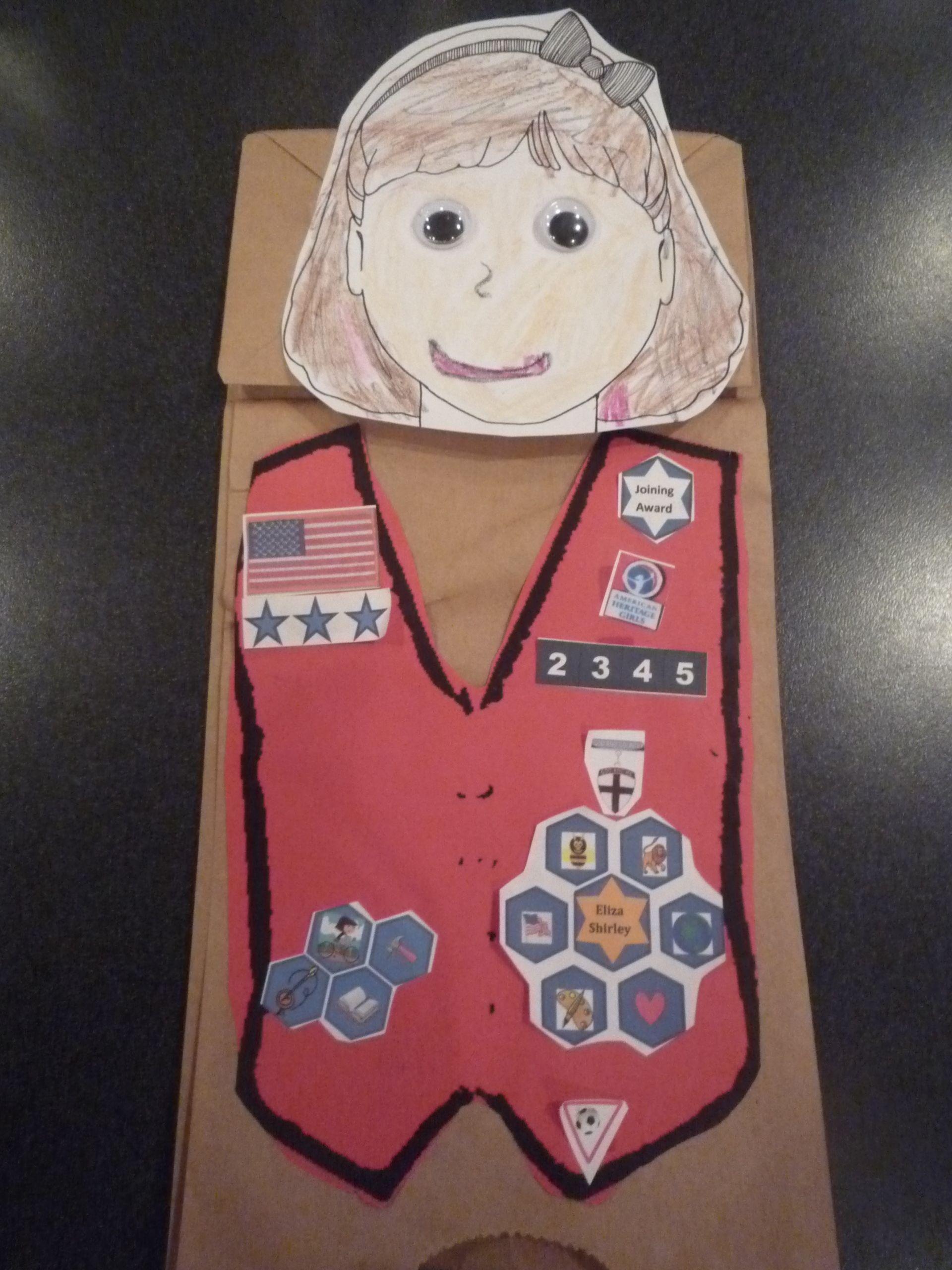 Paper bag puppet VA2345 Tenderheart leader Kathy Mitchem.