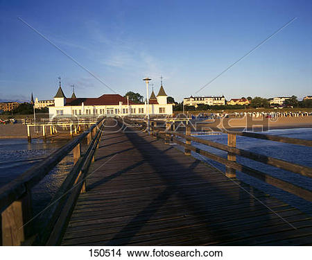 Stock Photo of Pier leading to seaside resort, Ahlbeck.