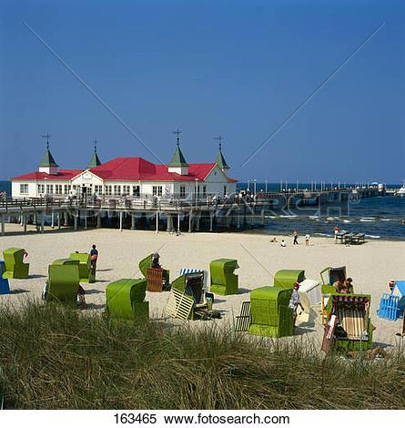 Stock Image of Tourist resorts on beach, Ahlbeck, Heringsdorf.