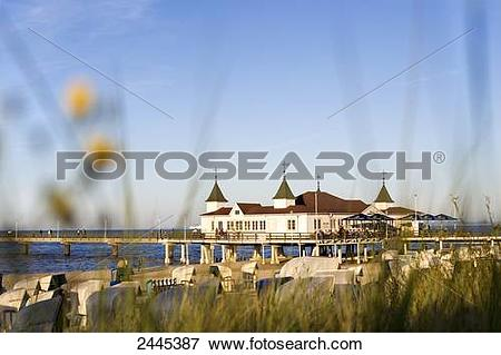 Picture of Marram grass and hooded beach chairs on beach with pier.