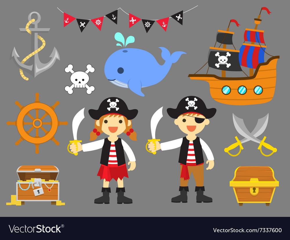 Ahoy Matey Summer Fun Pirate Children Clip Art.