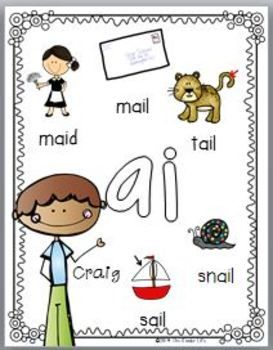 Vowel Pairs Print and Go Activities and Sorts ai ay ea ee ie.