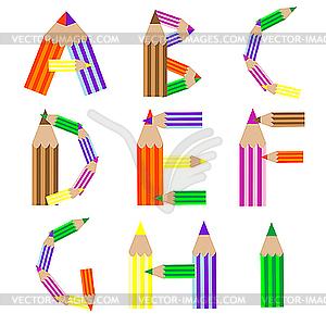 Pencils alphabet A.