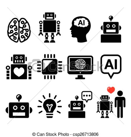 Vector Clipart of Artificial Intelligence (AI), robot.