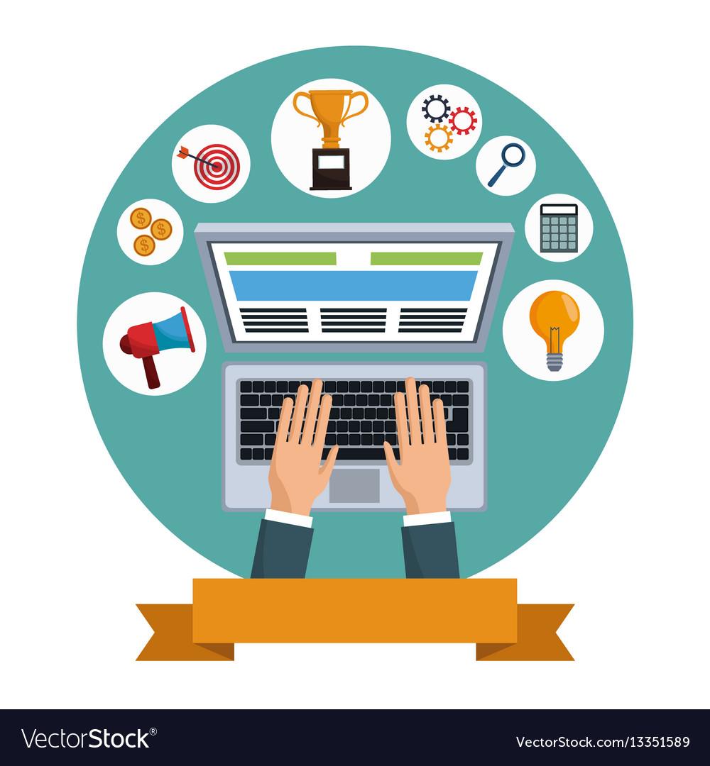 Digital marketing laptop social media.