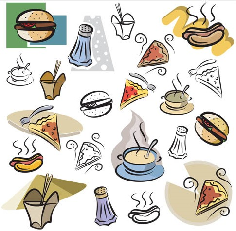 Drawing Fast Food Icons vector free download.