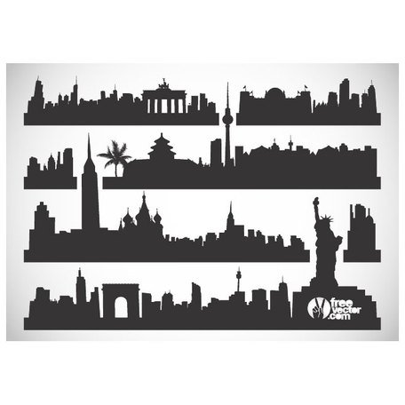 CITYSCAPES VECTOR SILHOUETTES.ai Clipart Picture.