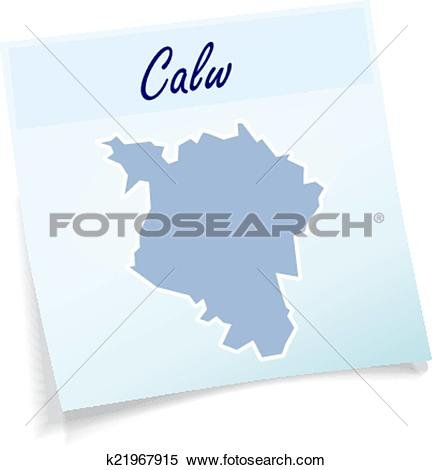 Clipart of Map of Calw as sticky note k21967915.