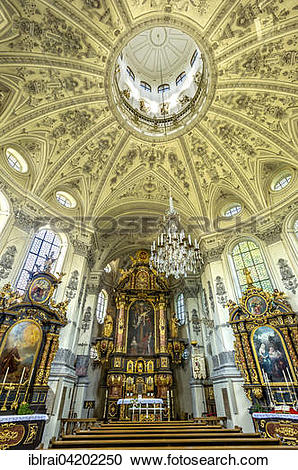 Stock Photography of Interior of the baroque pilgrimage church of.
