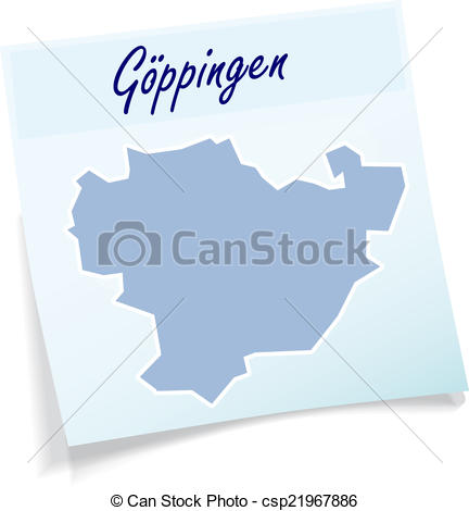 Vector of Map of Goeppingen as sticky note in blue csp21967886.