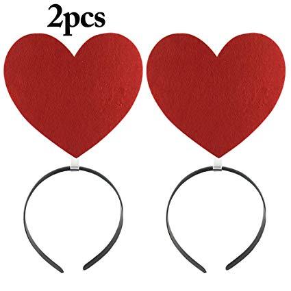 Amazon.com: JUSTDOLIFE 2PCS Hair Hoop, Red Heart Headband.