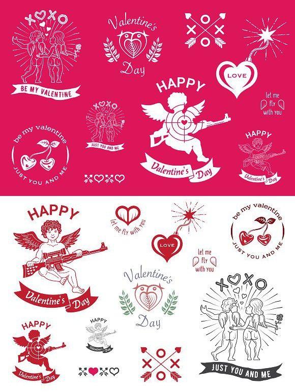 Valentine\'s Day emblems.