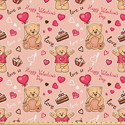 Amazon.com: Ambesonne Valentines Fabric by The Yard, Cute.