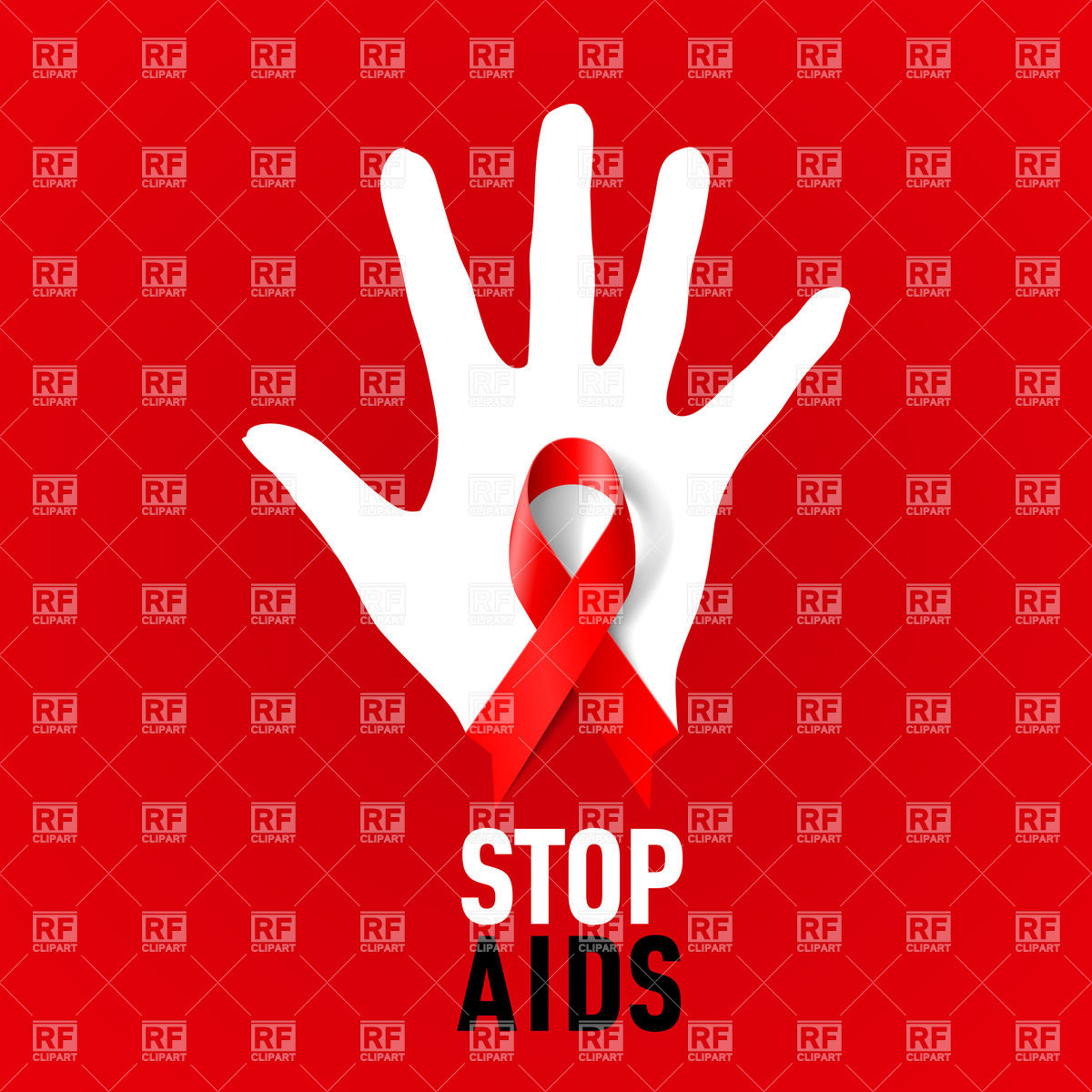 Stop AIDS sign with white hand and red ribbon Vector Image #26075.