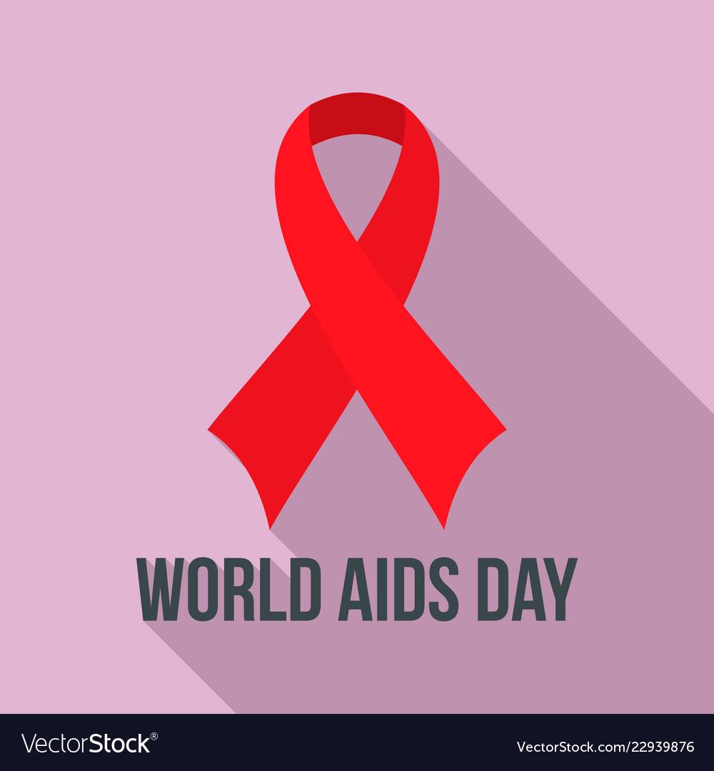 World aids day charity logo set flat style.