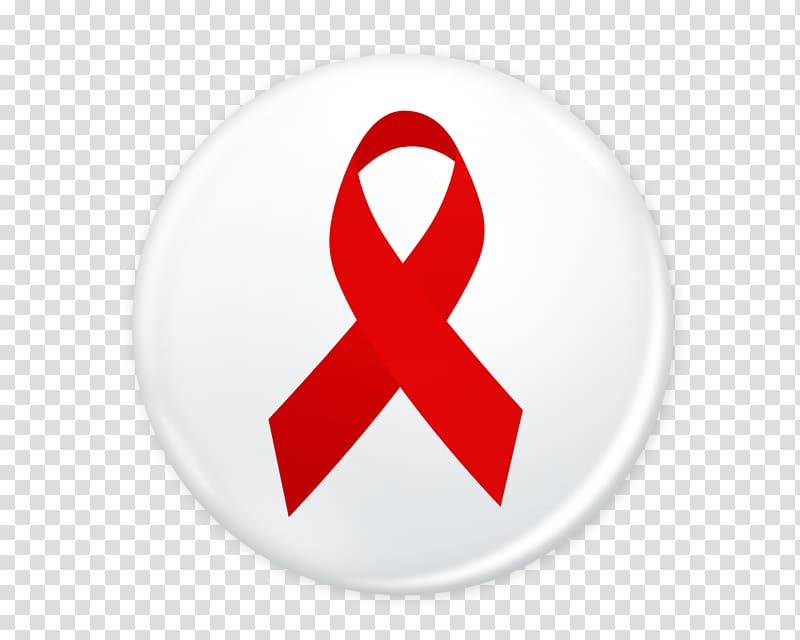 World AIDS Day Red ribbon Symbol Sign, Red ribbon badge transparent.