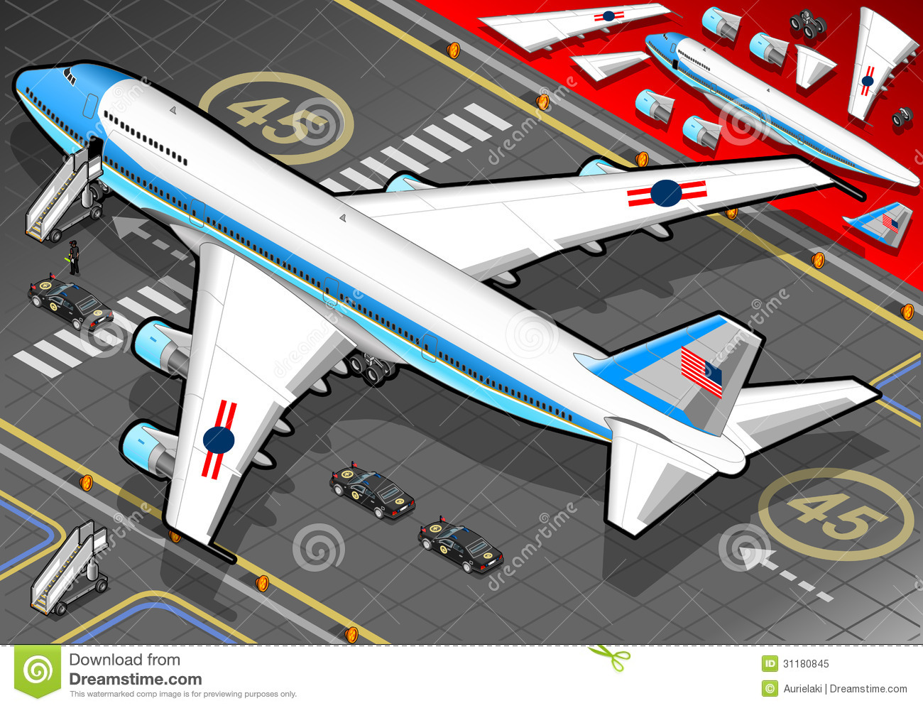 Isometric Air Force One In Rear View Royalty Free Stock Photo.