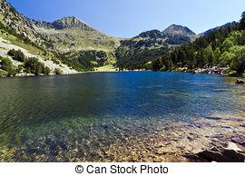 Stock Photo of Panorama to Aiguestortes National Park, Catalan.