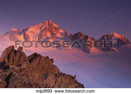 Stock Photo of Sunrise on the Aiguille du Chardonnet, Mont Blanc.