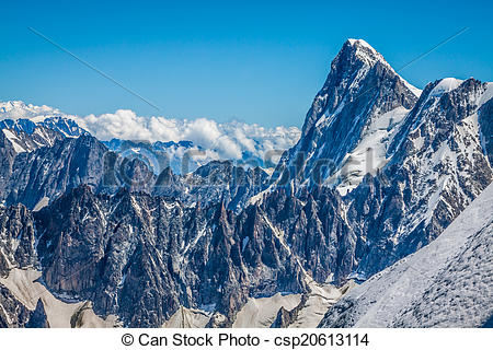 Stock Photography of View on the Alps from the Aiguille du Midi.