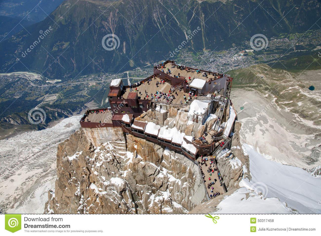 The Viewing Point On Aiguille Du Midi Peak Stock Photo.