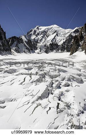 Stock Photograph of Cirque Maudit and Mont Blanc, Aiguille du midi.