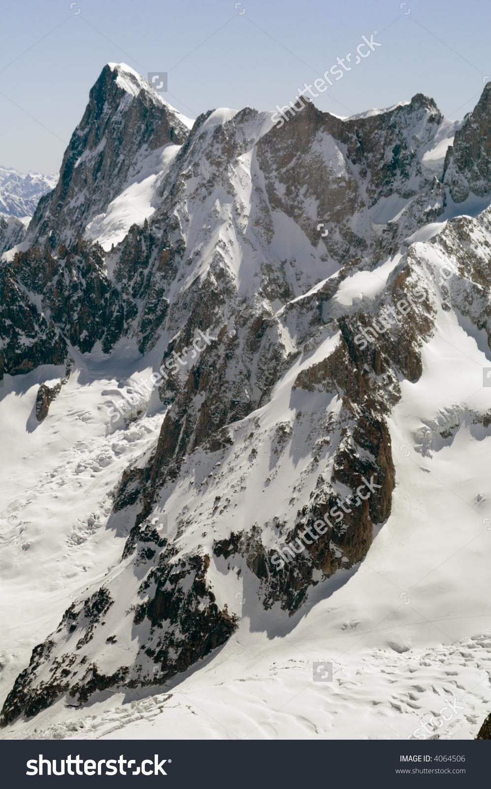 View Of Mont Blanc Mountain Range From Aiguille Du Midi In.