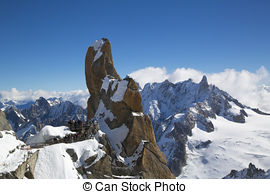 Stock Photo of Aiguille du Midi cable car station.