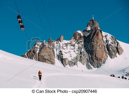 Stock Photo of The Aiguille du Midi peak with Panoramic Mont.