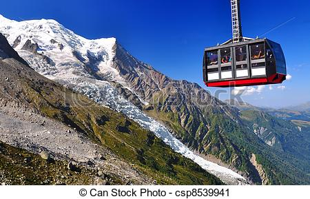 Stock Photography of Aiguille du Midi cable car in Chamonix.