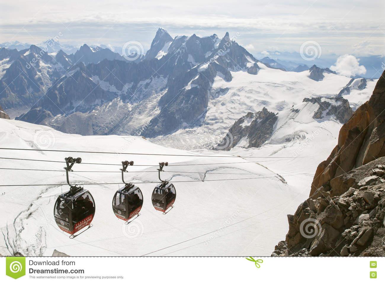 The Aiguille Du Midi Peak With Panoramic Mont.
