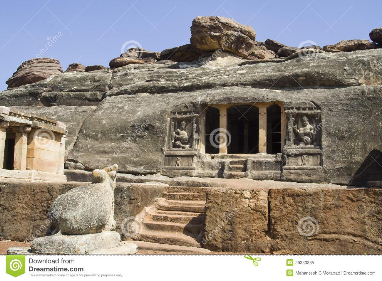 Ravan Pahadi Cave, Aihole Royalty Free Stock Photo.