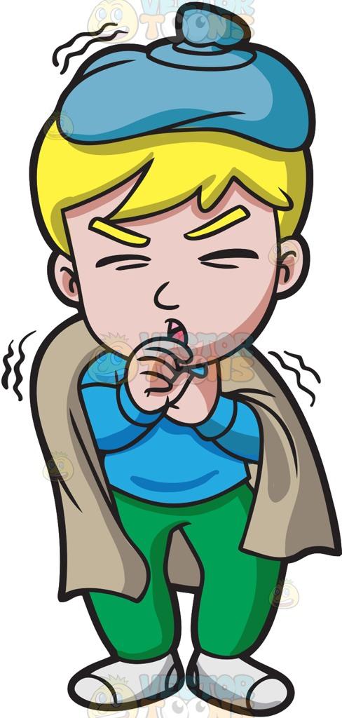 A Sick Boy With A Horrible Cough Cartoon Clipart.