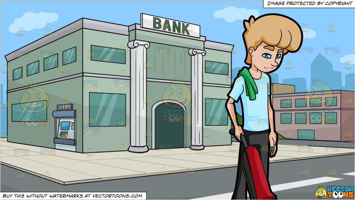 A Man In Concentration While Using The Vacuum and Outside A Bank Background.