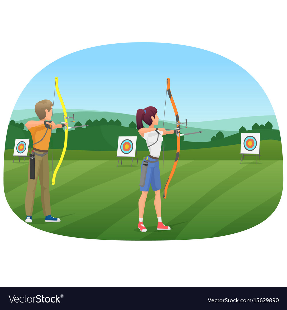 Man and woman standing with bows and aiming to the.