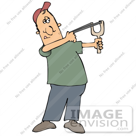 Clip Art Graphic of a Man Aiming a Slingshot.