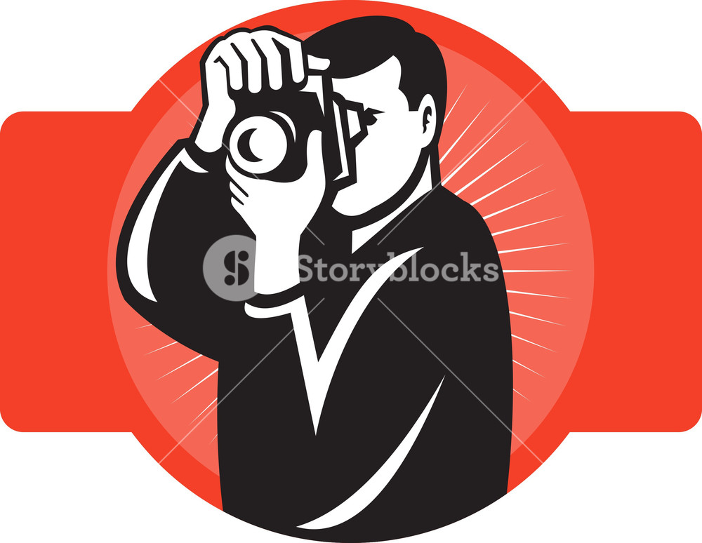 Photographer Aiming Slr Camera Front Royalty.