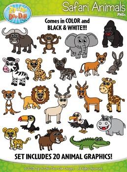 Safari Animals Clipart {Zip.