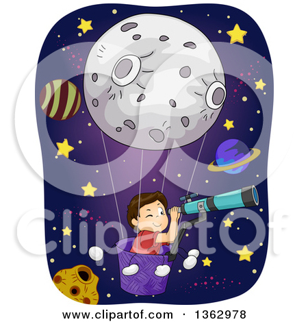 Clipart of Black and White Space Doodles.