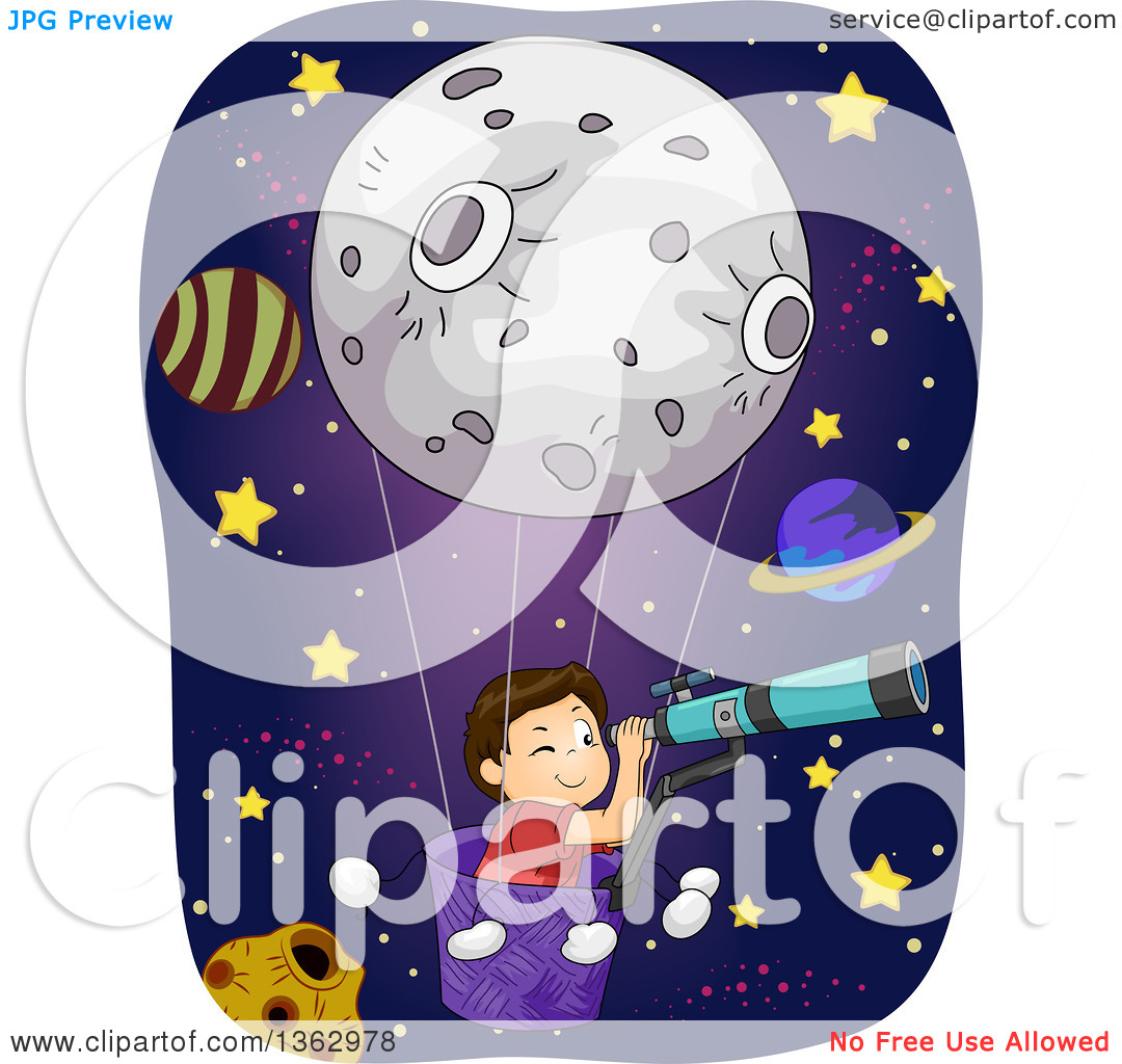 Clipart of a Brunette White Boy in a Moon Hot Air Balloon, Looking.